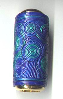 miniature blue green filigree polymer clay kaleidoscope